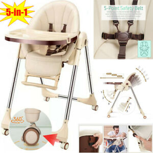 5in1 Adjustable Baby Highchair/Toddler Chair Foldable Recline Feeding Seat Table