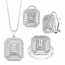 1/4 ct Diamond Necklace, Earrings & Ring Set in 14K White Gold-Plated Brass