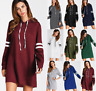 Women's Long Sleeve Sweatshirt Hooded Casual Hoodie Jumper Sweater Loose Dress