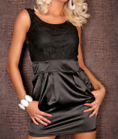 Women Black Satin Sleeveless Party Cocktail Dress Bodycon Mini Club Dress