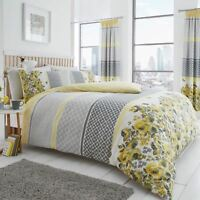 SAPHIRA GREY AND YELLOW KING SIZE DUVET COVER SET FLORAL GEOMETRIC REVERSIBLE