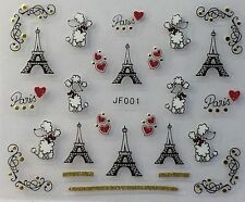 Nail Art 3D Decal Stickers Love Paris Effel Tower Valentine's Day Poodle JF001