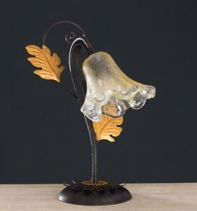 Lamp Support Lumetto Classic Wrought Iron Rustic Leaves Gold Art Povera