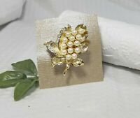 Vintage  Gold Tone and Pearl Bead Cluster Leaf Brooch Pin