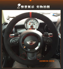 DIY Steering Wheel Cover Black Suede Red Thread Hand Sewing For MINI