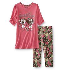 Girls Puppy Dog Pajamas Size 14/16 XL Top/Capri Pants Slumber Party Heart Camo N