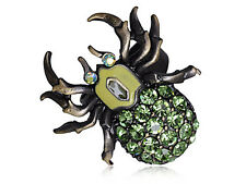 New Brass Peridot Green Gems Body Spider Insect Bug Rhines Ring Jewelry Gift