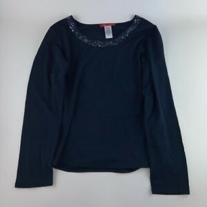 Anne Klein Womens Blouse Blue Long Sleeve Jewel Neck Stretch Sequin Top M