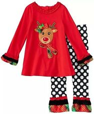 NWT Girls Rare Too Christmas Outfit 12m Reindeer Holiday 2pc Set Polka Dots CUTE