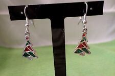 Christmas Tree Fish Hook Earrings Bb1841 Silver Tone Red & Green Sparkle Beads