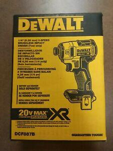 "DEWALT DCF887B 20V 20 Volt 1/4"" 3 Speed lithium Ion Impact Driver Tool DCF887"
