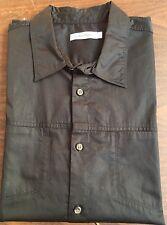 CALVIN KLEIN Black Solid Shirt Sz. XL Short Sleeve Button Front