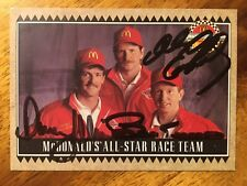 1992 MCDONALDS DALE EARNHARDT, Davey Allison And Bill Elliott AUTOGRAPHED JSA