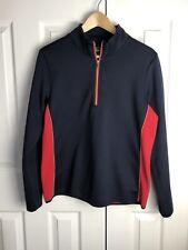 EP Pro Golf Pullover Sz L Navy Red Half Zip Pullover Fleece Lined Jacket EUC