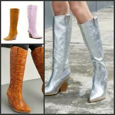 Womens Casual Pointy Toe Block Heel Stone Pattern Cowboy Knee High Boots 43/45