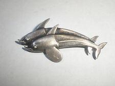 Vintage Georg Jensen Danish Sterling Silver two Dolphins 317 Brooch pin Denmark