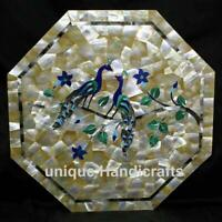 Marble coffee table top Mother of pearl stones inlaid with Peacock Design Decor