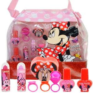 Kinder MINNIE MOUSE Handtasche Beauty Kosmetik Ligloss Schminke SET 9 teilig(94)