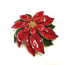 Vintage LARGE Red & Green Enamel & Rhinestone POINSETTIA Flower Brooch Lot ii77g