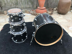 DW Collectors 4 Pc Drum Set kit Satin Black 2002 10x8.12x9.14.11.22x18