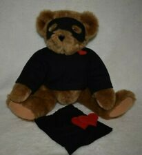 Vermont Teddy Bear Love Bandit jointed poseable plush thief Valentine mask