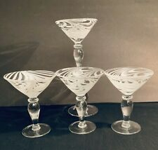 Vintage Hand Blown ~ Martini ~ Margarita Glasses ~ White Swirls ~ set of 4