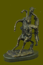 Western Art Vintage Copper Bronze Statue-Horse and Man Hand Made Hot Cast Figure