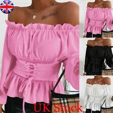UK Womens Sexy Ruffle Off Shoulder T Shirt Ladies Summer Long Sleeve Blouse Tops
