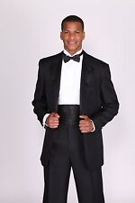 "Men""s Basic Tuxedo Suit Solid Color White and Black Jacket with Pants T 802"