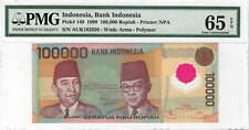 INDONESIA Rp.100000 Rupiah PMG GEM UNC-65 EPQ (1999) P-140 POLYMER Banknote