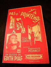 Partition Y'a pas de printemps Edith Piaf Music Sheet