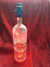 NEW Bling Electric LAMP 1.75ml GREY GOOSE Vodka Empty LIQUOR BOTTLE Red LEDs