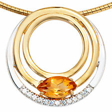 Halsketten und Anhänger aus Gelbgold mit Citrin runde Echtschmuck