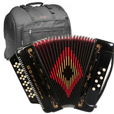 ROSSETTI ACCORDION 34 BUTTON 3 SWITCH GCF 12 BASS SOL BLACK + STAGG PADDED BAG