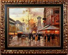 Parisian Street Scene Oil Painting, INCREDIBLE Detail, Color, Frame & MINT!
