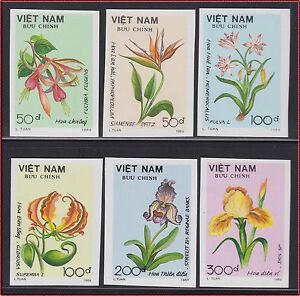 VIETNAM N°970/975** Non Dentelés FLEURS 1989 Vietnam 2030-2035 Imperf Flower MNH