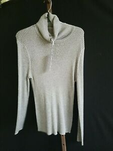 Joseph A. Turtleneck Metallic Sweater XL Gunmetal Glitter Stretchy NWT$68