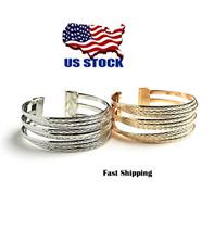 Women Ladies Fashion Jewelry Triple Layer Gold Tone Silver Tone Cuff Bracelet