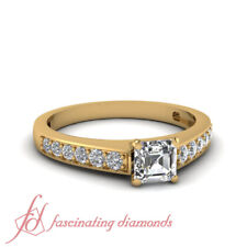 3/4 Carat Diamond Ring Pave Set For Women 18K Yellow Gold With Asscher Cut GIA