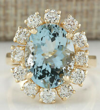 6.75 Carat Natural Aquamarine 14K Yellow Gold Diamond Ring