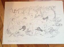 Vintage Art signed Mouton The Picnic d'apres Poussin Centaur Mythological