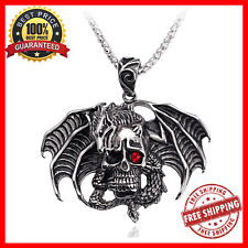 New Punk Rock Dragon Skull Hip-hop Necklace Gothic Black Red Eye Jewelry For Men