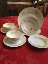 Vintage Austrian Pink Flower China, Two 4pc Luncheon Settings, EUC