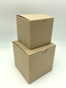 2 Assorted Sizes Kraft Paper Cube Gift Box Sample Set - 4x4x4 3x3x3 Mug Candy