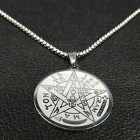 NEW Tetragrammaton Pentagram Star Amulet Magic Pendant Necklace Stainless Steel