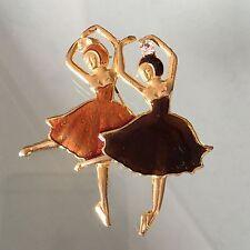 Vintage Estate Gorgeous Elegant Enamel Brooch Ballerinas Jewellery Jewelry