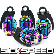 4 ANODIZED GRENADE VALVE STEM CAP KIT/SET FOR RIMS/WHEELS/TIRES P1 NEO CHROME
