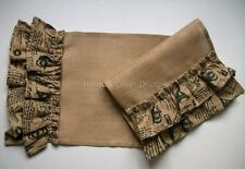 FRENCH SCRIPT RUFFLED Jute Burlap Runner with Double Ruffle on Each End