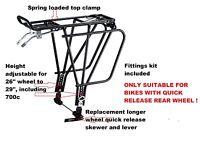 Quick release rear wheel -bike-alloy-rear-carrier-WORKS WITH REAR DISC BRAKE !!!
