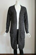 Women's long sleeves cardigan sweater outwear dark grey wool blend SZ M D4